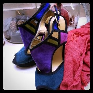 Sexy multi-colored suede sandals
